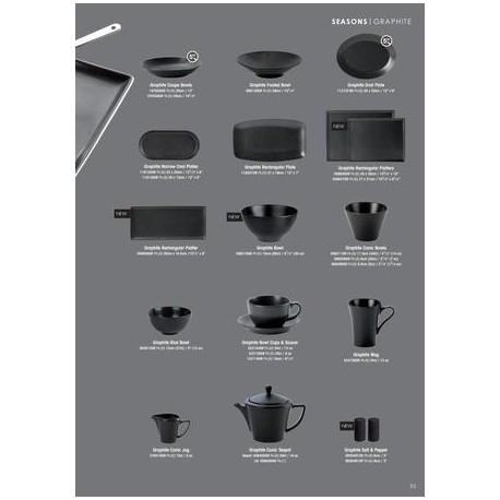 DPS SEASONS linija GRAPHITE porculanskih tanjura, 28 cm, plitki, crni, 6 komada