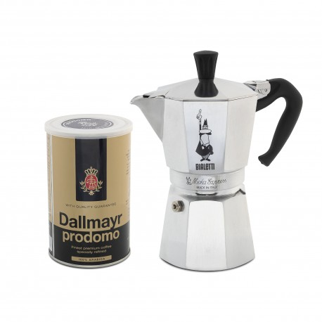 BIALETTI MOKA kafetijera za 4 šalice + DALLMAYR PRODOMO kava u limenci 250 grama