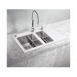 ALVEUS CRYSTALIX 20 LIJEVI ,  usadni ( I )  sudoper od kaljenog stakla za element od 80 cm, bijeli