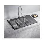 ALVEUS CRYSTALIX 20 LIJEVI ,  usadni ( I )  sudoper od kaljenog stakla za element od 80 cm, crni