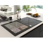 ALVEUS KARAT UP 10 LIJEVI ,  usadni ( I )  sudoper od kaljenog stakla za element od 50 cm, crni